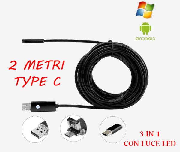 TELECAMERA ENDOSCOPICA USB ISPEZIONE ENDOSCOPIO PER  ANDROID 6 LED TYPE C 2 M