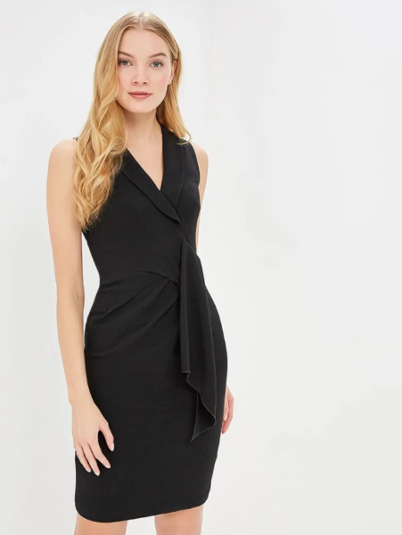 Royaume-UniKaren Millen Black Chic Enveloppant Smoking Volant Crayon  Fête Robe UK
