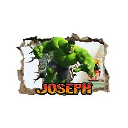Personalised Any Name Hulk Design Wall Decal 3D Sticker Vinyl Bedroom 97