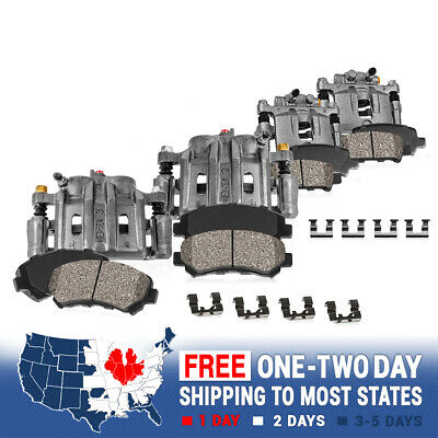 Front + Rear Brake Calipers + Ceramic Pads For 2009 2010 2011 2012 2013 Journey