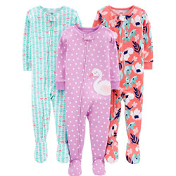Kyпить Simple Joys by Carter's Girls' 3-Pack Snug Fit Footed Cotton Pajamas 6-9m NEW на еВаy.соm