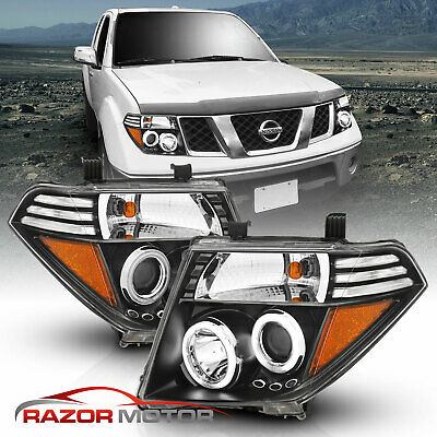For 05-08 Nissan Frontier/Pathfinder LED Halo Projector BLACK Headlights