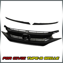 Kyпить For 2016 2017 2018 Civic 10th Glossy Black Front Upper Hood Mesh Grille на еВаy.соm