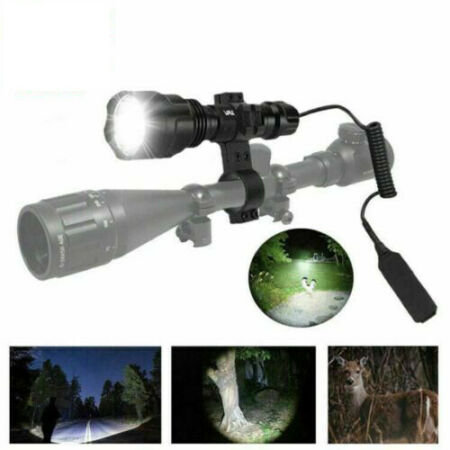 img-8000LM Lamp Scope Mount Gun Light Tactical Hunting Air Rifle Torch + Batteries