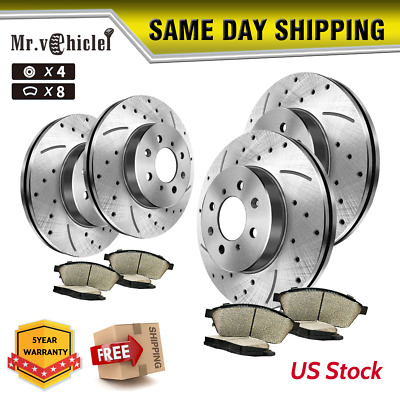 Front Rear Drilled Slotted Brake Rotors & Pads For 2001 2002 Chevy Suburban 1500