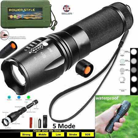 img-Tactical Flashlight 8000LM T6 LED Zoom Torch Lamp + Powerful 18650 Battery New