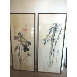 Kyпить Vintage Pair of Chinese Hanging Scrolls 66