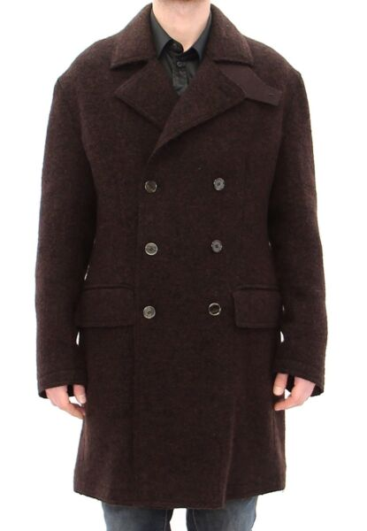 SuèdeDOLCE & GABBANA  Brown Peacoat Trench Double Breasted IT50/ US40