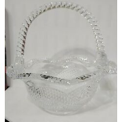 Victorian Trading Co Clear Glass Candy Basket 24D