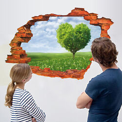 Removable 3D Broken Wall Stickers Decal Art Vinyl Mural Home Decor-A + Key Ring