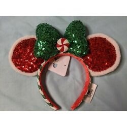 Kyпить Disney Parks Christmas 2020 Red Green Peppermint Candy Ears Headband New на еВаy.соm