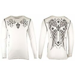 Kyпить Xtreme Couture by AFFLICTION Men THERMAL T-Shirt UNITY CROSS Biker MMA Gym $58 на еВаy.соm