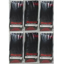 6 PAIRS - Snap-On Crew Socks Men's BLACK - LARGE ~ FREE SHIP ~ MADE IN USA *NEW*