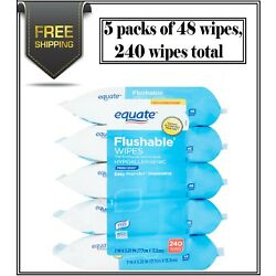 Kyпить Equate Flushable Wipes, Fresh Scent, 5 packs of 48 wipes, 240 wipes total на еВаy.соm