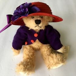 Jointed Bear Red Hat Society Purple Coat Collectible Tilden Manor Originals 10