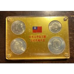 Kyпить 1965 CHINA / TAIWAN - OFFICIAL MINT SET (4) w/ 2 SILVER - 100 YRS. SUN YAT-SEN на еВаy.соm