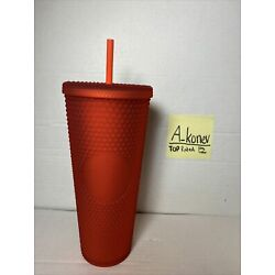 Kyпить Starbucks 2020 Neon Coral Red Soft Touch Studded Bling Cold Cup Tumbler на еВаy.соm