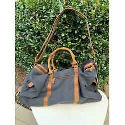 Kyпить Kattee Canvas Leather Trim Rolling Duffle Bag Charcoal Color - NEW with Tag! на еВаy.соm