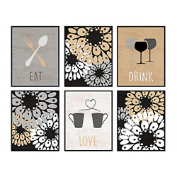 Eat Drink Love Dining Room Decor - Contemporary Kitchen Wall Art Prints for Home