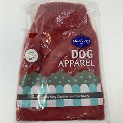 Blueberry Pet Apparel Sweater for Dogs 8'' / Sz XS Red Knit Sweater