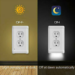 Kyпить 5 Pcs Duplex Wall Plate Outlet Cover with LED Night Lights Ambient Light Sensor на еВаy.соm