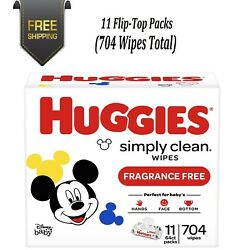 Kyпить Huggies Simply Clean Unscented Baby Wipes, 11 Flip-Top Packs (704 Wipes Total) на еВаy.соm