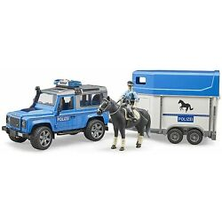 Bruder 02588 Land Rover Police Vehicle w Horse Trailer, Horse and Policeman
