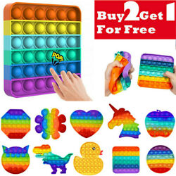 Kyпить Push Pop it Rainbow New Silicone Sensory Fidget Toy Pop Bubble Stress Relief на еВаy.соm