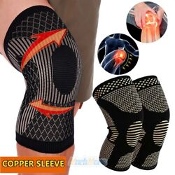 2 Copper Knee Support Compression Sleeve Brace Sport Joint Pain Relief Arthritis