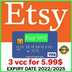 Kyпить 3 VCC Etsy Seller Verification Virtual Card ????Fast Delivery???? на еВаy.соm