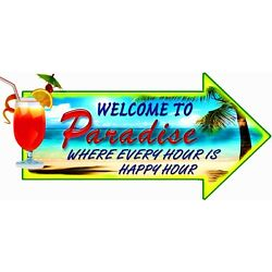 HUGE 2' WELCOME TO PARADISE Wall Decal HAPPY HOUR,  BAR  SIGN REMOVEABLE CANVAS