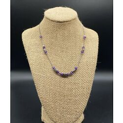 SHABLOOL STYLE-Sterling Silver Purple Amethyst Type Bead Necklace