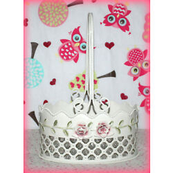 Ivory Metal Hand-Painted Shaby Roses Basket with Handle & Clear Prisms *NEW*