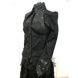 Steampunk Raven Gothic Black Top Long RED Cross  Brocade Collars   And Cuff