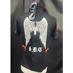 Raven Women's black  / Red Cotton Mix Shirt With Angel Wing Print Motif By SDL L
