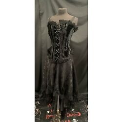 Raven Gothic Victorian Outfit Lace Layered Skirt And Velvet Corset Top ML 12/14