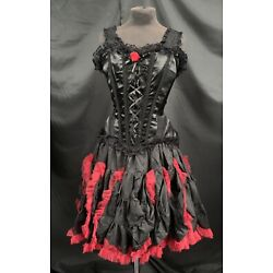 Gothic Vintage Black  Corset And Full  Tutu Skirt  Outfit By Raven  SDL