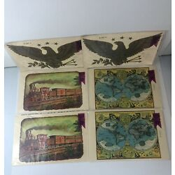 Lot Of 6 Vintage Meyercord Decorator Decals NEW NOS - Train, World Map, Eagle