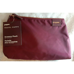 Poppin Travel Happy Accessory Pouch Case - Wine  8.25 x 5.25 x 3in NEW W/TAGS