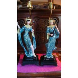 Kyпить 1950's MCM Hollywood Chalkware Green Siam Dancer Musician Vintage Lamps на еВаy.соm