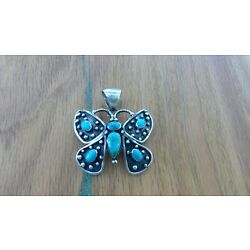 Kyпить Native American Sterling Silver And Turquoise Butterfly  Pendant( Navajo ) на еВаy.соm