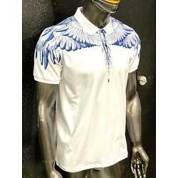 New Mens Short Sleeve Polo Shirt Slim Fit Stretch White Blue Eagle Wings Print