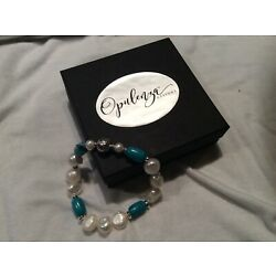 Opulenza .925 Sterling Silver, Turquoise and Pearl Stretch Bracelet