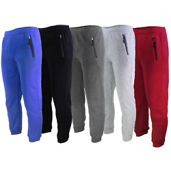 JOGGERS SWEATPANTS MEN'S CASUAL SLIM-FIT FLEECE PANTS WITH ZIPPERS ON POCKETS