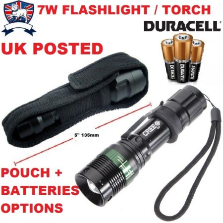 img-7W EXTRA BRIGHT LED FLASHLIGHT / TORCH ULTRA ARMY POLICE SECURITY POUCH OPTION F