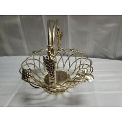 Vintage Godinger Silverplate Small Fruit Basket Twisted Wire Grape Decorated