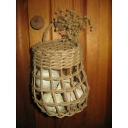 Handmade Garlic Basket for storing garlic, onions, OR use it to hold your phone
