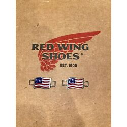 ONE PAIR OF RED WING SHOES AMERICAN FLAG BOOT LACE SHOE KEEPER CHARMS USA