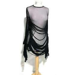 Raven Shredded Gothic/fish Net Short Dress With Sleeves Details Fit One Size
