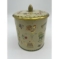 Vintage Round Tin Made in England with Lid Rooster Flowers Country Farmhouse